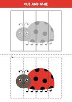 Cut and glue game for kids. Cute ladybug. vector