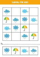 Sudoku game for kids with cute weather events. vector