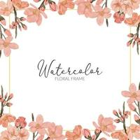 watercolor cherry blossom spring flower square frame vector