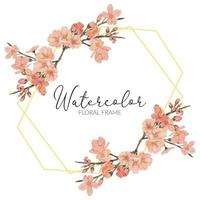 watercolor cherry blossom spring flower rustic frame vector