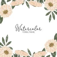 watercolor pastel floral square frame vector