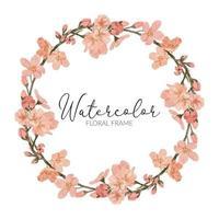 watercolor cherry blossom spring flower wreath border vector