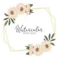 watercolor pastel floral rustic geometric frame vector