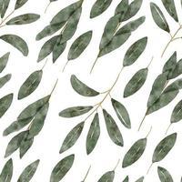 acuarela botánica hoja verde de patrones sin fisuras vector