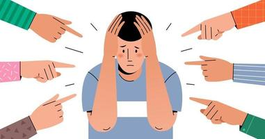Different hands indicate a frightened young man vector