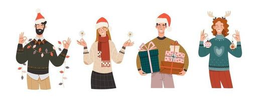 Joyful people in winter clothes are preparing for the new year and christmas vector
