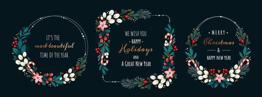 Christmas wreaths made of branches vector