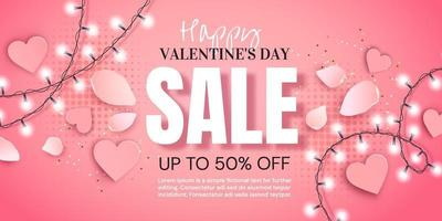 sale banner with garland and hearts vector