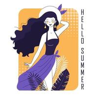 Joyful girl in a swimsuit and pareo vector