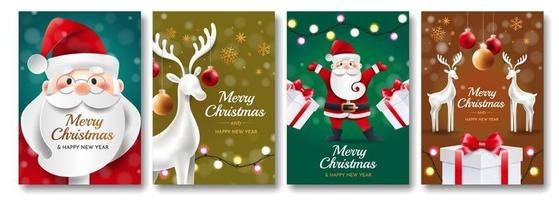 Set of christmas cards with santa vector