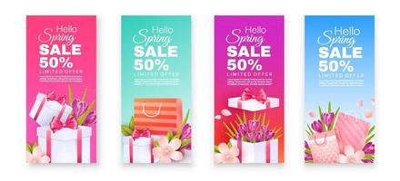 crocuses and apple blossoms with gift bags vector