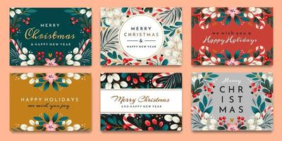 A set of cards with holiday greetings vector