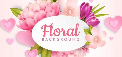 Floral background with realistic flowers and hearts vector