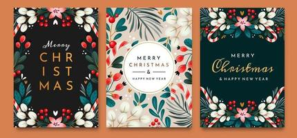 Christmas cards with ornaments of branches vector