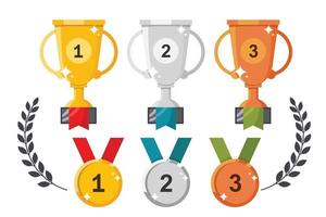 Cups and medals vector