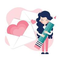 A young girl signs a valentine card vector