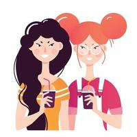 Two young girls drink cocktails vector