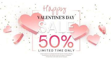 Valentine's day sale banner vector