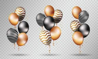Gold and black balloons on transparent vector