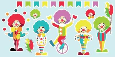 Clowns set of bright stickers vector