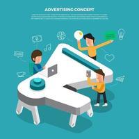 lluvia de ideas de concepto de diseño plano trabajando en publicidad de iconos de escritorio ilustrar el vector. vector