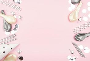 Pink birthday background with copy space photo