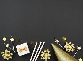 Grey and gold birthday background with copy space photo