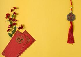Chinese new year concept yellow background photo