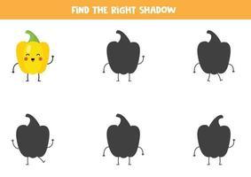 encuentra la sombra correcta del lindo pimiento amarillo kawaii. vector