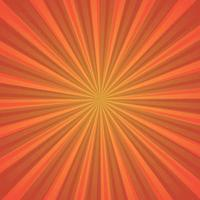 Imagen abstracta, rayos del sol naranja sobre un fondo rojo. vector