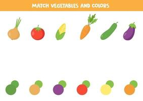 Color matching game for kids. Set of cartoon vegetables. vector
