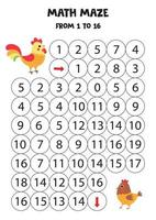 laberinto matemático del uno al dieciséis. gallo y gallina de dibujos animados lindo. vector