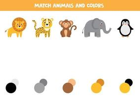 Match animal and its color palette. Educational game for kids. vector