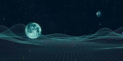 Universe and lines, grid of the future artificial intelligence geometric universe, 3D Illustration photo