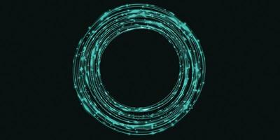 Green light curve abstract circle background sparkle, 3d illustration photo