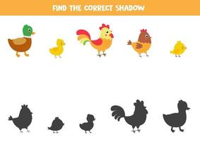 encuentra la sombra correcta de los pájaros de granja de dibujos animados lindo. vector