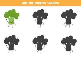encuentra la sombra correcta de brócoli kawaii. vector