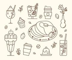 Sweet drinks and cakes in the cafe. flat design style minimal vector illustration.