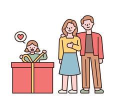 una niña desempaquetando una gran caja de regalo y sus padres mirándola. padres y niños felices dando regalos a los niños en el día del niño. Ilustración de vector mínimo de estilo de diseño plano.