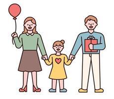 familia tomados de la mano. padres y niños felices dando regalos a los niños en el día del niño. Ilustración de vector mínimo de estilo de diseño plano.
