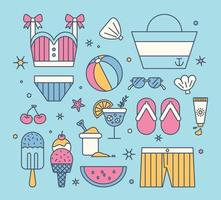 Fun summer beach objects. flat design style minimal vector illustration.
