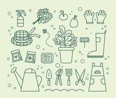 Collection of gardening objects. flat design style minimal vector illustration.