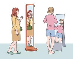 A woman is standing in front of a full-length mirror and looking at herself. hand drawn style vector design illustrations.