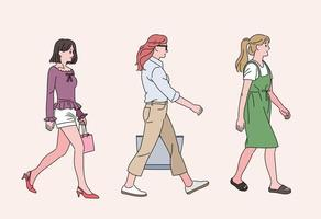 Casual style women are walking. hand drawn style vector design illustrations.