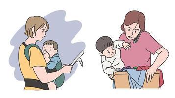 mujeres que trabajan con bebés al mismo tiempo. ilustraciones de diseño de vectores de estilo dibujado a mano.