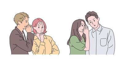 People who whisper. hand drawn style vector design illustrations.