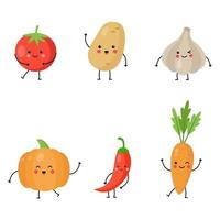 Collection of cute kawaii vegetables on white background. vector