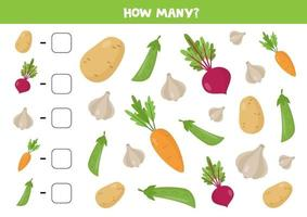 Counting game for kids. Cute cartoon vegetables. vector