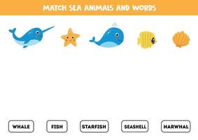 Match pictures of sea animals with the words. vector