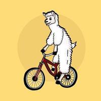 Cute lama ride bike vector illustration.